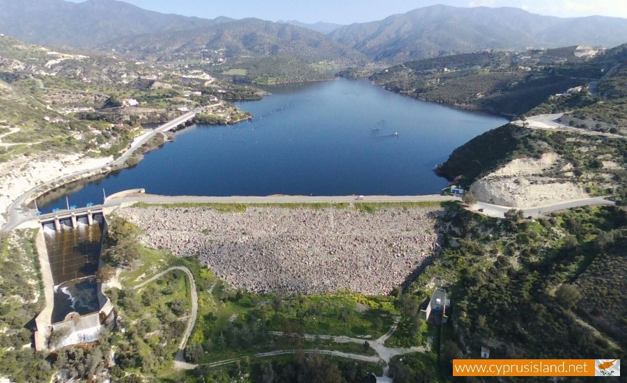 Germasogeia Dam aerial front view